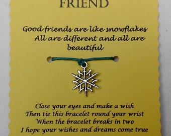 Friend Wish Bracelet, Friend Gift, Friendship bracelet, Snowflake Charm bracelet, String Bracelet, Friend Jewellery, Keepsake, Gift for Her