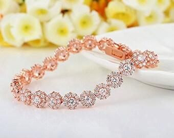 Bridal Rose Gold Crystal Bracelet -  Crystal Wedding Bracelet - Rose Gold Wedding Accesories