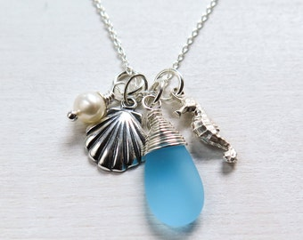 Beach Necklace, Sea Glass Pendant, Seahorse, Sterling Silver, Handmade Beach Jewelry, Ocean Inspired Jewelry, Summer Necklace, Beach Wedding