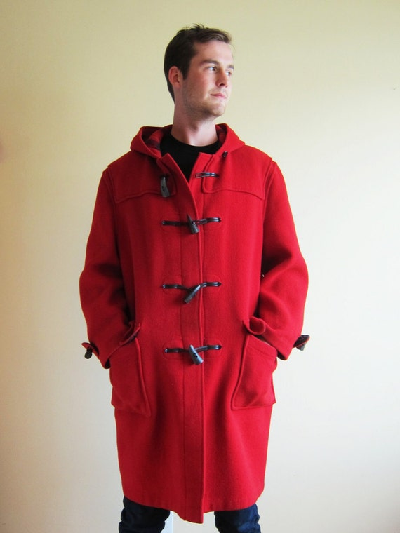 Red Wool Original Gloverall Duffle Coat Made in England Hooded