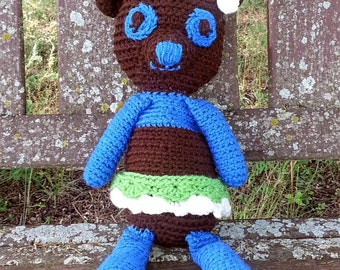 Woodland Friend Crochet Stuffed plush Bear Animal Toy & Photo Prop in Green, Blue and Brown