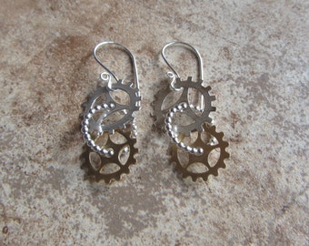 silver and brass gearrings