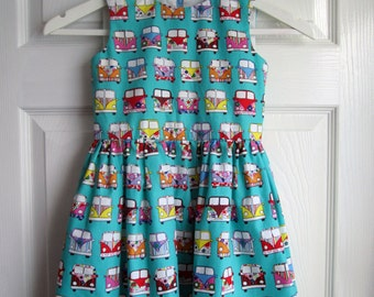 Girls Campervan Print Cotton Summer Dress, Fully Lined, Made in UK
