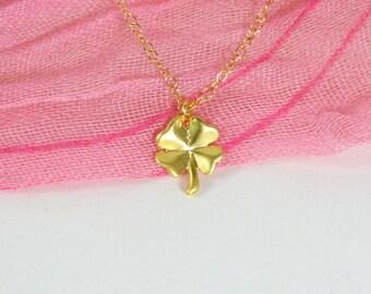 Clover necklace, Gold clover necklace, Four leaf clover necklace, Lucky necklace, Luck necklace, Clover necklace gold, Shamrock necklace