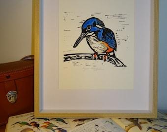 Linocut Bird lino print, original art, Kingfisher linoleum print