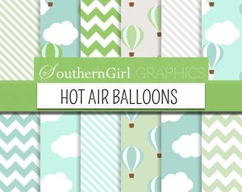 Hot Air Balloon Digital Papers - blue, teal, aqua, green, taupe, white, hot air balloon, striped, chevron, boy, digital papers