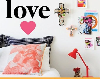 Love Heart | Home Office Kids Nursery | Removable Wall Decal Sticker | MS145VC