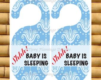 Door Hanger, Baby Do Not Disturb, Baby Sleeping, Sleeping Baby Sign, Door Knob Sign, Blue, DIY Printable, Instant Download - TFD315