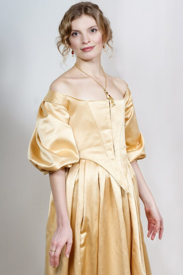 17th Century Golden Dress 1600s Gown By Fiorentinacostuming