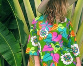 The Jungle Fever - Vintage Neon Floral Top  Womens Size Small/Medium 60s