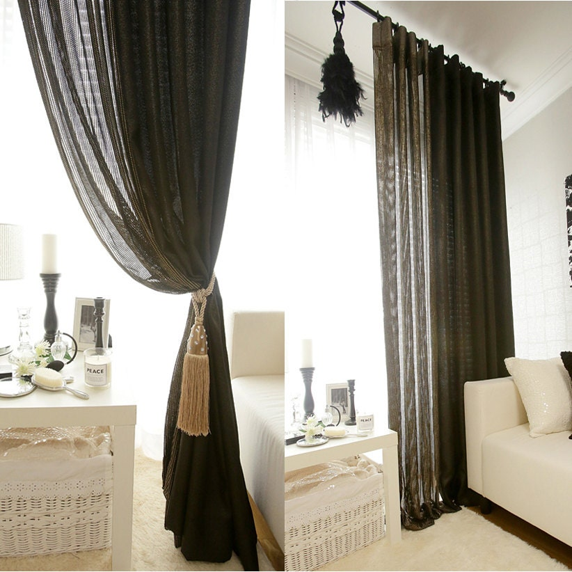 textured weave black sheer curtain with gold sparkle