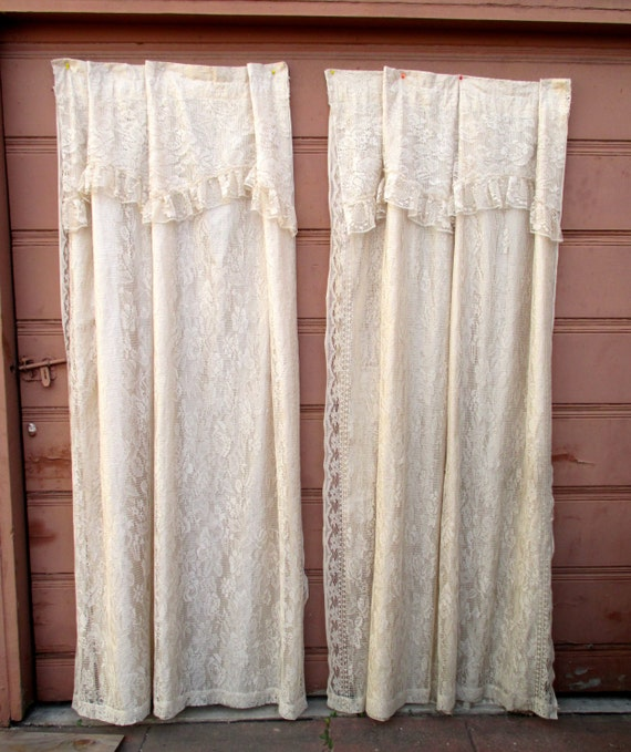 Vintage Chantilly Lace Cream Curtains Lace Curtains Long