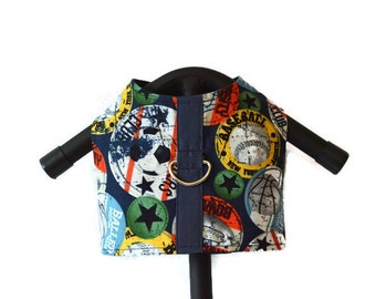 SPORTS FAN Dog Cat Harness Vest, Small Dog Harness, Boy Dog Clothes, Pet Attire, Custom Pet Clothing, Blue Green Yellow Orange Ball Harness