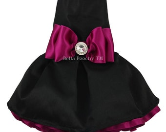Black & Dark Pink Couture Party Dress for Dogs by Bella Poochy TM