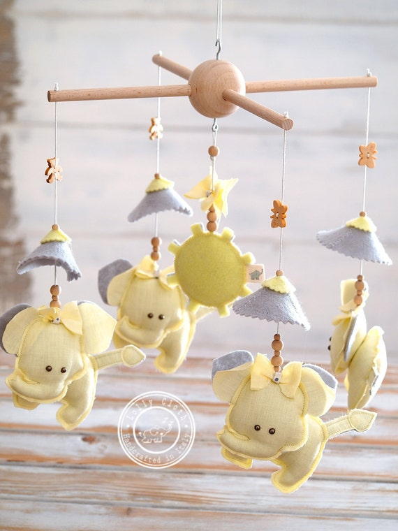 Elephant baby crib mobile hanging yellow gray nursery for Unusual baby mobiles