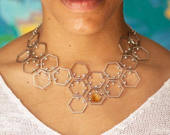 Geometric Hexagon Bib Necklace, Silver Tone with Citrine