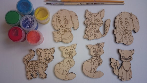 7 cute cats and dogs unfinished cutouts for kids crafts. Black Bedroom Furniture Sets. Home Design Ideas