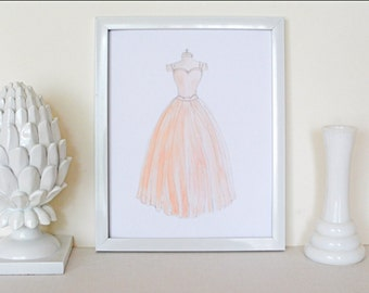 Peach Dress // Hand Painted / 8 x 10 / 5 x 7 / Art Print / Watercolor / Feminine / Girl's Room / Nursery Decor