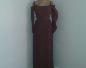 Vintage 1960's Gorgeous Brown Pleated Gown Dress w/Sleeves Miyake Grès Style Grecian