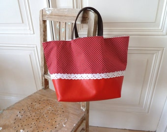Shopper with leather handles in red, shopping bag, bag, shopping bag, handmade
