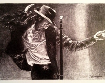 Michael Jackson 'King of Pop' - Hand drawn signed print