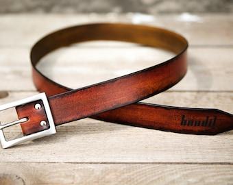 Ceinture cuir patinée à la main marron rouge et brun - réalisée par Bandit