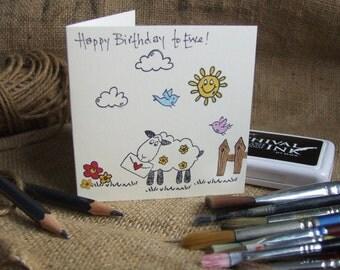 Original hand printed and hand coloured 'Happy Birthday to Ewe!' card.