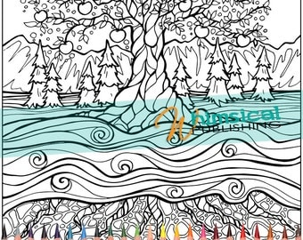 Adult coloring pages japanese coloring page by Landscape coloring books for adults