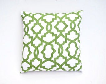 Price reduced from 19.99! Green and white Geometric pillow Cover 18x18