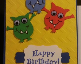 Handmade Little Monster Birthday Card