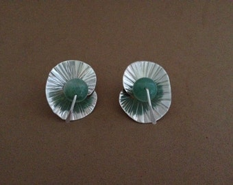 sterling silver forged post earring with aventurine bead