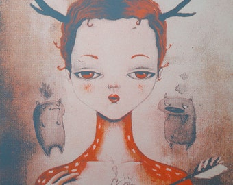 """handmade serigraphy, 3 colours, limited edition of 22 """"Hurt"""""""