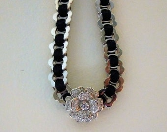 Black and Silver Link Choker with Crystal Flower