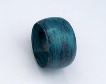 Wooden Bangle Bracelet - Distressed Aqua and Black Hand painted