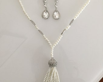 Vintage Gatsby jewelry wedding Accessories Necklace earrings set  downtown abbey flapper accessories