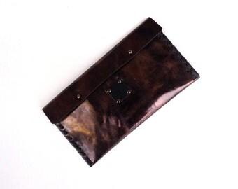 Leather Evening bag, Leather Clutch bag, Pouch, Makeup Bag, Travel bag, Wallet - Deep Purple