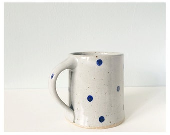 Coffee mug - polka dot blue cup - pottery ceramic mug with polka dots - handmade unique coffee cup grey gray indigo cobalt - modern ceramics