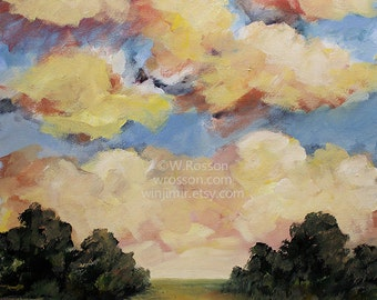 SALE-----Dawn Expression, Original Painting, Trees, Blue Sky, Yellow,  Pink Clouds, Cloudscape, Landscape Painting, Cloud Painting, Winjimir