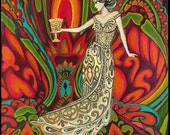 Queen of Cups Psychedelic Gypsy Goddess Tarot Art ACEO ATC Mini Print