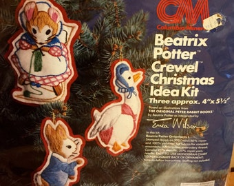 BEATRIX POTTER Crewel Christmas Kit Peter Rabbit Book Erica Wilson 1978 Vintage