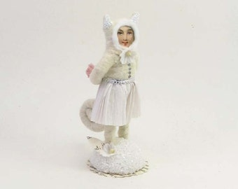 Spun Cotton Vintage Style White Cat Girl Figure/Ornament