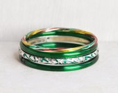 4 Vintage Glass and Enamel Bracelets - green red yellow Indian glass bangles - extra small or child size