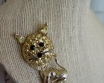 FREE SHIPPING Vintage Rhinestone Lion Cat Brooch Pin