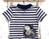 Toddler t-shirt (age 2 yrs) Zombie Biker Of Anarchy Stripes Stars blue grey tee punk by Love Rocky