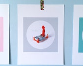 Print: Dear Diary - squid felt graphic wall decor photo digital bed miniature red grey