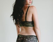 Lingerie - Black and Gold French Lace Panties - 'Honeysuckle' Style Sheer Lacy Panty - Custom Fit Made To Order Women's Lingerie