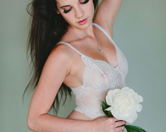 SALE - White Lace Bra - 'Sassafras' Style French Lace Longline Bridal Bra - Made To Order See Through Lingerie