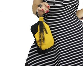 SALE Bracelet Purse - Mustard Yellow & Black Lace Wristlet