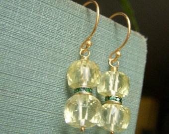 Lemon Quartz Earrings, 3D Gemstone Cube Earrings, Pale Yellow Earrings, Lemon Quartz Cube Dangle, Genuine Lemon Quartz
