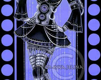 "Glitch- 12""x24""  Original Acrylic Painting  Purple Fairy Cybergoth Robot Android Original Acrylic Painting"